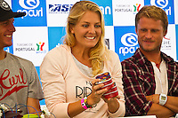 Stephanie Gilmore (AUS) receiving cans of Peniche Sardines from the Mayor of Peniche.  SUBERTUBOS, Peniche/Portugal (Wednesday, October 6, 2010)  .The Rip Curl Pro Portugal is set to start tomorrow and continues the dramatic battle for the 2010 ASP World Title Race between Kelly Slater (USA), 38, Jordy Smith (ZAF), 21, Mick Fanning (AUS), 29, and Taj Burrow (AUS), 32..Stephanie Gilmore (AUS), 22, reigning three-time ASP Women's World Champion and current ASP Women's World No. 1, will return to the singlet in Portugal as she campaigns for a fourth, consecutive crown..The Rip Curl Pro Portugal will run from October 7 through 18, 2010..Photo: joliphotos.com