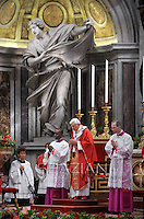 Pope Benedict XVI leads the holy mass of Pentecost Sunday in Saint Peter's Basilica at the Vatican on May 27, 2012.