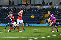Aaron Pierre of Wycombe Wanderers (left) scores the opening goal of the game during the Sky Bet League 2 match between Wycombe Wanderers and Morecambe at Adams Park, High Wycombe, England on 12 November 2016. Photo by David Horn.