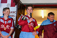 Aaron Connolly (At age 15) of Mervue United U15 performs a speech after winning in the U15 GFA Cup Final.<br /> <br /> Mervue United v Salthill Devon, U15 GFA Cup Final, 12/5/15, Eamonn Deacy Park, Galway.
