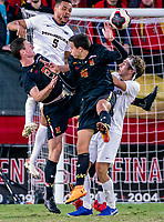 COLLEGE PARK, MD - NOVEMBER 03: Jacob Chakroun #16 of Maryland and Eric Matzelevich #15 of Maryland up for a header with Abdou Samake #5 of Michigan during a game between Michigan and Maryland at Ludwig Field on November 03, 2019 in College Park, Maryland.
