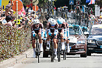 AG2R La Mondiale in action during Stage 2 of the 2019 Tour de France a Team Time Trial running 27.6km from Bruxelles Palais Royal to Brussel Atomium, Belgium. 7th July 2019.<br /> Picture: Colin Flockton | Cyclefile<br /> All photos usage must carry mandatory copyright credit (© Cyclefile | Colin Flockton)