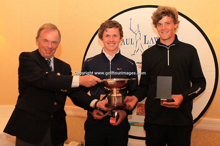 Iain Harvey, President, Scottish Golf Union presents  the team from Dumfries and Galloway with The Paul Lawrie Foundation, Scottish Schools Golf Boys Team Championship Trophy: The Paul Lawrie Foundation Scottish Schools Golf Championships played at Murrayshall House Hotel and Golf Courses on 10th June 2013: Picture Stuart Adams www.golftourimages.com: 10th June 2013