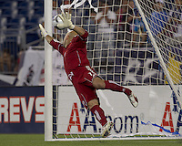 New England Revolution goalkeeper Matt Reis (1) in penalty kicks after game ended tied at 1-1. The New England Revolution defeated Puebla FC in penalty kicks, in SuperLiga 2010 semifinal at Gillette Stadium on August 4, 2010.