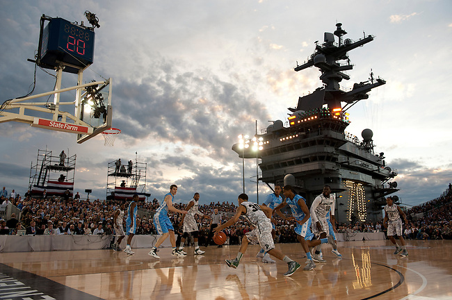 SAN DIEGO, CA - NOVEMBER 11, 2011: The Michigan State Spartans and the North Carolina Tar Heels in action during the 2011 Quicken Loans Carrier Classic on the USS Carl Vinson..(Photo by Robert Beck / ESPN)..- RAW FILE AVAILABLE -.- CMI000165159.jpg -