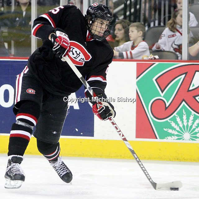 St. Cloud State's Oliver Lauridsen fires a shot during the third period. UNO beat St. Cloud State 3-0 Friday night at Qwest Center Omaha.  (Photo by Michelle Bishop)