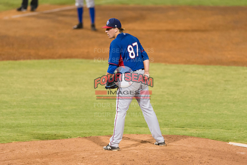 AZL Rangers relief pitcher Dylan Bice (87) looks in for the sign during an Arizona League playoff game against the AZL Indians 1 at Goodyear Ballpark on August 28, 2018 in Goodyear, Arizona. The AZL Rangers defeated the AZL Indians 1 7-4. (Zachary Lucy/Four Seam Images)