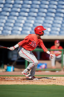 Philadelphia Phillies Julio Francisco (17) follows through on a swing during a Florida Instructional League game against the New York Yankees on October 12, 2018 at Spectrum Field in Clearwater, Florida.  (Mike Janes/Four Seam Images)