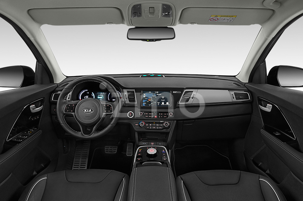 Stock photo of straight dashboard view of 2019 KIA e-Niro More 5 Door SUV Dashboard