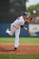 Charlotte Stone Crabs relief pitcher Riley O'Brien (30) during a Florida State League game against the Palm Beach Cardinals on April 14, 2019 at Charlotte Sports Park in Port Charlotte, Florida.  Palm Beach defeated Charlotte 5-3.  (Mike Janes/Four Seam Images)