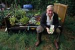 man, allotment, Egton Bridge, Gooseberry show, BRITAIN, ENGLAND, UK, BRITISH, ENGLISH, Gooseberry, Yorkshire, Annual event, Folk custom, travel stock uk, Taken either end of the 80s, or early 1990s.