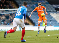 Blackpool's Nicholas Wilmer Anderton defends against Portsmouth's Gareth Evans<br /> <br /> Photographer Andrew Kearns/CameraSport<br /> <br /> The EFL Sky Bet League One - Portsmouth v Blackpool - Saturday 12th January 2019 - Fratton Park - Portsmouth<br /> <br /> World Copyright &copy; 2019 CameraSport. All rights reserved. 43 Linden Ave. Countesthorpe. Leicester. England. LE8 5PG - Tel: +44 (0) 116 277 4147 - admin@camerasport.com - www.camerasport.com