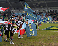 20130309 Copyright onEdition 2013©.Free for editorial use image, please credit: onEdition..Guard of Honour flags before the LV= Cup semi final match between Harlequins and Bath Rugby at The Twickenham Stoop on Saturday 9th March 2013 (Photo by Rob Munro)..For press contacts contact: Sam Feasey at brandRapport on M: +44 (0)7717 757114 E: SFeasey@brand-rapport.com..If you require a higher resolution image or you have any other onEdition photographic enquiries, please contact onEdition on 0845 900 2 900 or email info@onEdition.com.This image is copyright onEdition 2013©..This image has been supplied by onEdition and must be credited onEdition. The author is asserting his full Moral rights in relation to the publication of this image. Rights for onward transmission of any image or file is not granted or implied. Changing or deleting Copyright information is illegal as specified in the Copyright, Design and Patents Act 1988. If you are in any way unsure of your right to publish this image please contact onEdition on 0845 900 2 900 or email info@onEdition.com