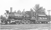 Fireman's-side view of D&amp;RGW #318 at Montrose.<br /> D&amp;RGW  Montrose, CO  5/1949