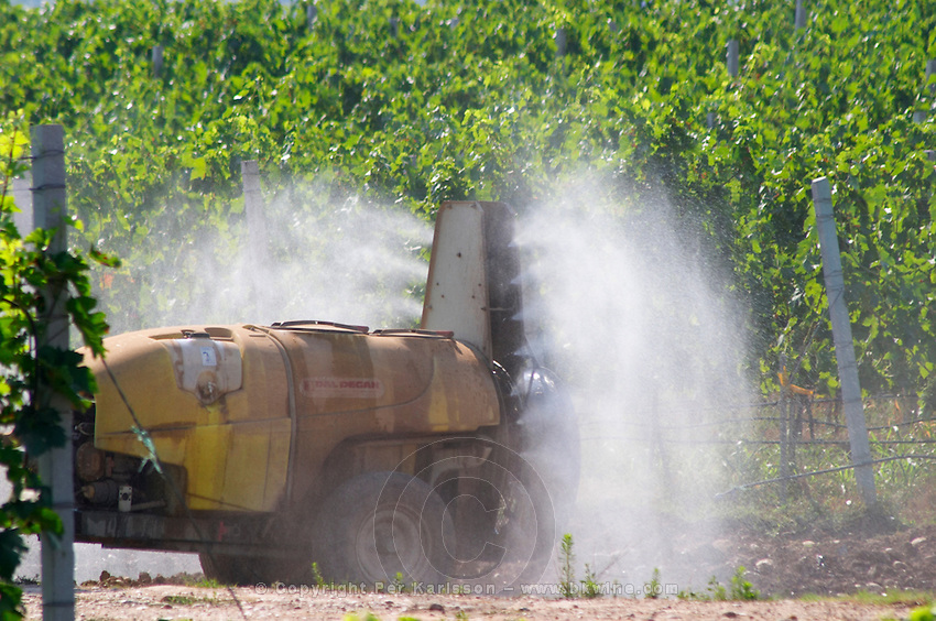 A vineyard tractor spraying with treatment for diseases between the rows of vines. Detail of the spraying machine. Hercegovina Vino, Mostar. Federation Bosne i Hercegovine. Bosnia Herzegovina, Europe.