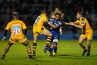 8th November 2019; AJ Bell Stadium, Salford, Lancashire, England; English Premiership Rugby, Sale Sharks versus Coventry Wasps; Marland Yarde of Sale Sharks is tackled by Jimmy Gopperth of Wasps - Editorial Use