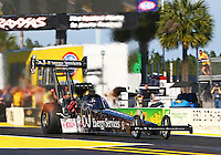 Mar 15, 2015; Gainesville, FL, USA; NHRA top fuel driver Dave Connolly during the Gatornationals at Auto Plus Raceway at Gainesville. Mandatory Credit: Mark J. Rebilas-