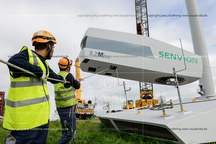 Germany Schleswig-Holstein Nortorf, construction of wind turbine SENVION 3.2M114, performance 3,2 Megawatt, lifting of turbine with car crane