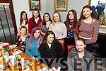 Rachel Daly moving from the Tralee Equestrian Centre to Galway, enjoying a meal with her friends in Bella Bia on Friday night.<br /> Seated l to r: Shona Williams, Rachel Daly, Lucy Falvey and Sinead McSweeney.<br /> Back l to r: Christine McCarthy, Aishling Williams, Geraldine Kissane, Liz McSweeney, Katie Collins and Natasha Knightley.