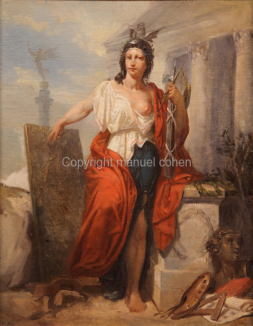 La Republique, allegorical painting of female figure draped in red, white and blue and wearing a cockerel helmet, in front of the Assemblee Nationale and the July Column on the Place de la Bastille in Paris, by Paul Baudry, 1828-86, in Le MUDO, or the Musee de l'Oise, Beauvais, Picardy, France. The woman is pointing to a tablet of law indicating the universal suffrage laws of 1848. Picture by Manuel Cohen