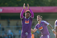 Goal scorer Reuben Reid of Plymouth Argyle celebrates victory with Graham Carey (right) of Plymouth Argyle during the Sky Bet League 2 match between Wycombe Wanderers and Plymouth Argyle at Adams Park, High Wycombe, England on 12 September 2015. Photo by Andy Rowland.