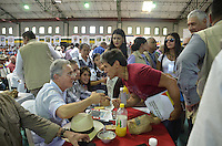 """TAMESIS, CO JULY 24: Colombian former president, opposition senator Alvaro Uribe (R) speaks with a resident during """"Encuentro de Dirigentes del Suroeste"""" in Tamesis Antioquia on July 24, 2016.(Photo by VIEWpress/Guillermo Betancur)"""