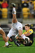 9th June 2017, Westpac Stadium, Wellington, New Zealand; Super Rugby; Hurricanes versus Chiefs;  Hurricanes' Beauden Barrett (R tackles Chiefs' Charlie Ngatai