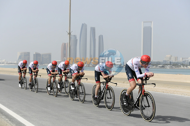 UAE Team Emirates motor along during Stage 1 of the 2019 UAE Tour, a team time trial running 16km around Al Hudayriat Island, Abu Dhabi, United Arab Emirates. 24th February 2019.<br /> Picture: LaPresse/Fabio Ferrari | Cyclefile<br /> <br /> <br /> All photos usage must carry mandatory copyright credit (© Cyclefile | LaPresse/Fabio Ferrari)