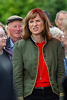 Fiona Bruce during filming of the Antiques Roadshow at The National Botanic Garden of Wales in Carmarthenshire, Wales, UK. Friday 19 July 2019