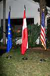 LOS ANGELES - OCT 24: Flags at the Austrian National Day Celebration in the Residence of the Consul on October 24, 2013 in Los Angeles, California