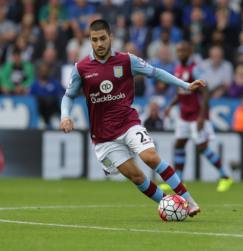 Aston Villa's Carles Gil<br /> <br /> Photographer Stephen White/CameraSport<br /> <br /> Football - Barclays Premiership - Leicester City v Aston Villa - Sunday 13th September 2015 - King Power Stadium - Leicester<br /> <br /> &copy; CameraSport - 43 Linden Ave. Countesthorpe. Leicester. England. LE8 5PG - Tel: +44 (0) 116 277 4147 - admin@camerasport.com - www.camerasport.com