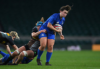 28th December 2019; Twickenham, London, England; Big Game 12 Womens Rugby, Harlequins versus Leinster; Victoria Dabanovich-O'Mahony of Leinster is tackled by Anna Caplice of Harlequins - Editorial Use