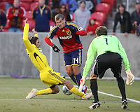 Columbus Crew Defender Frankie Hejduk (2) Goalkeeper Will Hesmer (1) and Real Salt Lake Forward Yura Movsisyan (14) in the Real Salt Lake 1-0 win over Columbus Crew in Game 1 of the Semi-Finals of the MLS Playoffs on October 31, 2009 at  Rio Tinto Stadium in Sandy, Utah