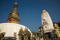 Swayambhunath Temple - one of the liveliest Buddhist temples in Kathmandu. Many Tibetans live in the area and make their daily 'kora' or procession around the temple as a form of prayer.
