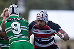 Frtz Lee  tackles halfback Aaron Good. Air New Zealand Cup rugby game between the Counties Manukau Steelers & Manawatu Turbos, played at Growers Stadium Pukekohe on Staurday September 20th 2008..Counties Manukau won 27 - 14 after trailing 14 - 7 at halftime.