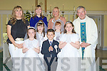 A proud day for the children from Causeway NShools as they made their communion on Saturday in St John's Church Causeway with their teacher and Fr Brendan Walsh loking on Front l-r: Ashley O'Connor (teacher at Scoil Chri?ost Ri?, Drummacurra), Chloe O'halloran and Killian Yallop Dooley (Killury NS), Siobhan O'Hanlon (Scoil Chri?ost Ri? and Fr Brendan Walsh. Centre l-r: Ciara canty (Scoil Chri?ost Ri?) and Shauna Dineen (Rathmorrell NS). Back teachers Sarah Behan (Rathmorrell NS) and Mary O'Connor (Killury NS)..