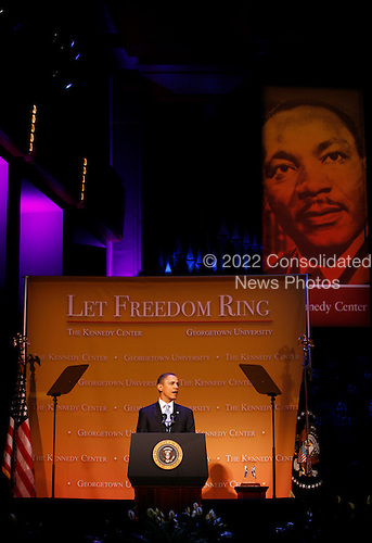 "United States President Barack Obama delivers remarks at  ""Let Freedom Ring"" concert in commemoration of Dr. Martin Luther King, Jr's. birthday at the Kennedy Center featuring nationally renowned artists and choir members from Washington area churches, Washington, DC, Monday, January 18, 2010..Credit: Aude Guerrucci / Pool via CNP"