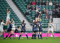 Twickenham, Surrey. UK.  Oxford, Katie COLLIS, collects the line out ball, during the 2017 Women's Varsity Rugby Match, Oxford vs Cambridge Universities. RFU Stadium, Twickenham. Surrey, England.<br />
