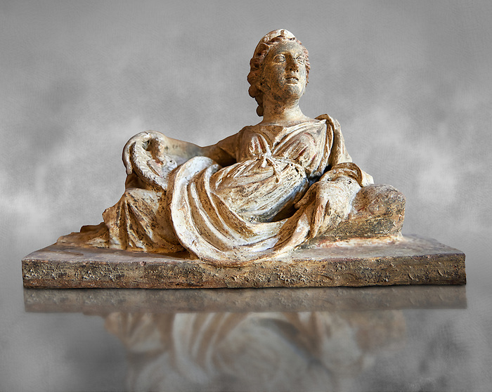 Etruscan Hellenistic style cinerary, funreary, urn  cover with a depiction of a women,  National Archaeological Museum Florence, Italy , grey art background