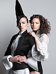 Fashion photo of two women with beautiful creative hairstyles