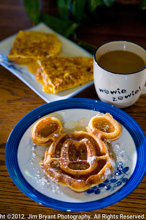 Mickey Mouse Waffles and ham and cheese omelet.  ©2012. Jim Bryant Photo. All Rights Reserved.