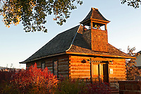 Historic Torrey log school and church, Torrey, Utah, gateway to Capital Reef National Park.