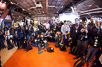 Press waiting for Prince Felipe and Princess Letizia at  the 33rd edition of the international Tourism fair (FITUR) in Madrid.