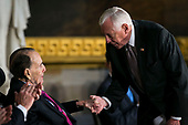 House Minority Whip Steny Hoyer, a Democrat from Maryland, greets former Senator Bob Dole, during a congressional Gold Medal ceremony for Dole, at the U.S. Capitol, in Washington D.C., U.S., on Wednesday, Jan. 17, 2018. Photographer: Al Drago/Bloomberg<br /> Credit: Al Drago / Pool via CNP