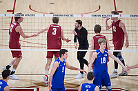 STANFORD, CA - March 2, 2019: Eli Wopat, Paul Bischoff, Kyle Dagostino, Jordan Ewert at Maples Pavilion. The Stanford Cardinal defeated BYU 25-20, 25-20, 22-25, 25-21.