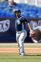 Myrtle Beach Pelicans third baseman Luis Mendez (10) throws to first during a game against the Wilmington Blue Rocks on April 27, 2014 at Frawley Stadium in Wilmington, Delaware.  Myrtle Beach defeated Wilmington 5-2.  (Mike Janes/Four Seam Images)