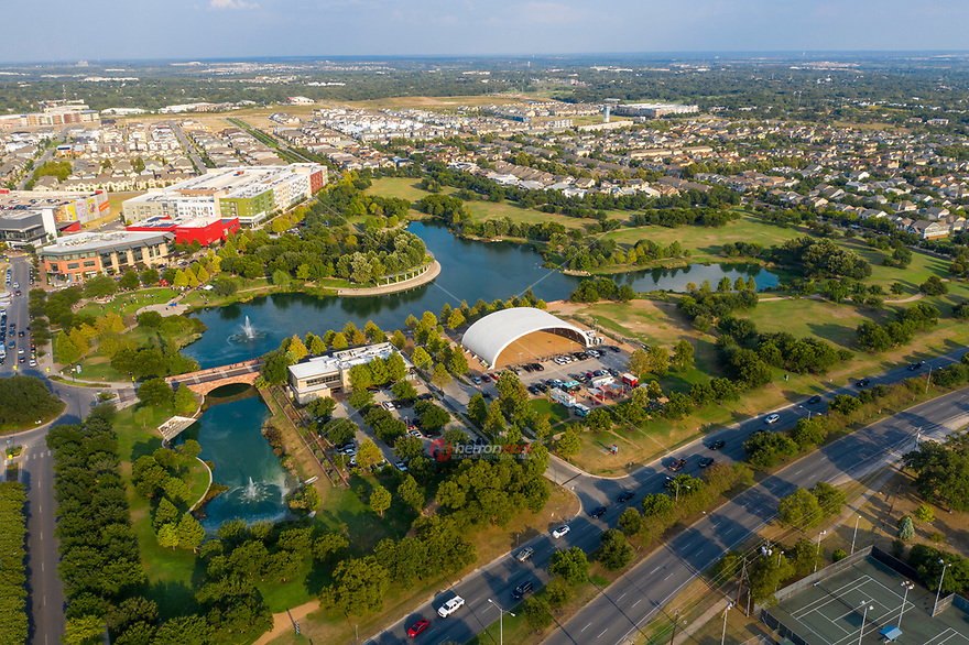 The Mueller Lake Park is 30-acre park surrounded by a 6.5-acre lake in the heart of Austin's eco-conscious mixed-use development, the largest planned community in Austin.