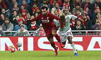 Liverpool's Mohamed Salah vies for possession with  Bayern Munich's Kingsley Coman<br /> <br /> Photographer Rich Linley/CameraSport<br /> <br /> UEFA Champions League Round of 16 First Leg - Liverpool and Bayern Munich - Tuesday 19th February 2019 - Anfield - Liverpool<br />  <br /> World Copyright © 2018 CameraSport. All rights reserved. 43 Linden Ave. Countesthorpe. Leicester. England. LE8 5PG - Tel: +44 (0) 116 277 4147 - admin@camerasport.com - www.camerasport.com