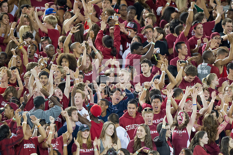 STANFORD, CA - October 9, 2010: Fans during a football game against University of Southern California in Stanford, California. Stanford won 37-35.