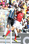 17 JUN 2010:  Park Chu Young (KOR)(10) and Martin Demichelis (ARG)(2) compete for a head ball.  The Argentina National Team defeated the South Korea National Team 4-1 at Soccer City Stadium in Johannesburg, South Africa in a 2010 FIFA World Cup Group E match.